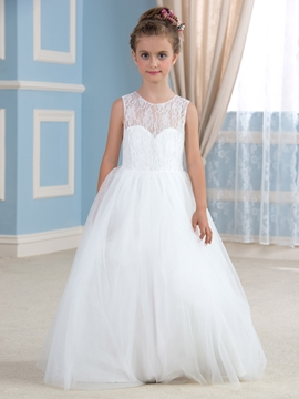 Cute Jewel A Line Lace Flowers Girl Dress
