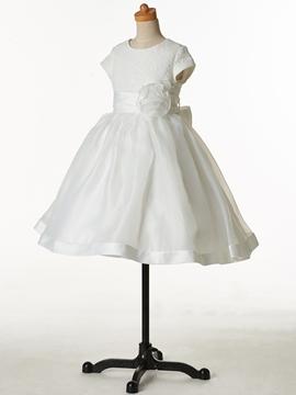 Cute Jewel Short Sleeves Lace Ball Gown Flower Girl Dress