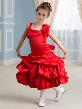 Cute Straps Flower Girl Dress