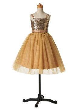 Cute Straps Sequins Ball Gown Flower Girl Party Dress