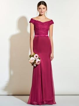 Elegant Off The Shoulder Lace Mermaid Bridesmaid Dress
