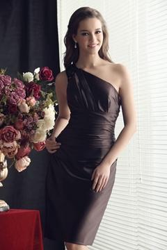 Faddish Ruched Sheath-Column Knee-length One-Shoulder Sandra's Bridesmaid Dress