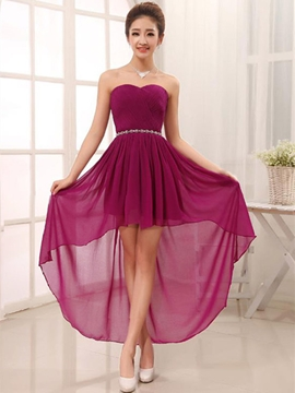 Fancy Beading Asymmetry Sweetheart Bridesmaid Dress