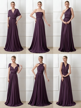 Fancy Convertible Long Bridesmaid Dress