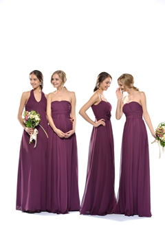 Fashionable Ruched Sheath-Column Halter Floor-Length Bridesmaid Dress