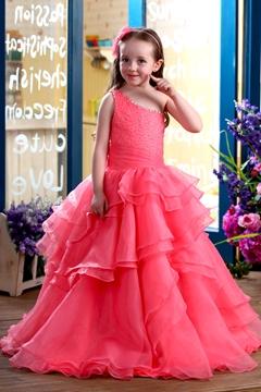 Glamorous A-Line Floor-length One-Shoulder Ruffles Flower Girl Dress