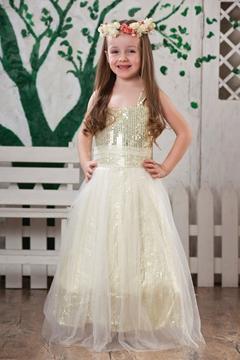 Glamorous A-Line Scoop Tea-length Sequins Flower Girl Dress