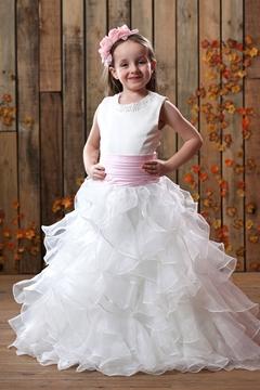Glamorous A-line Ankle-length Sash Pleats Flower Girl Dress