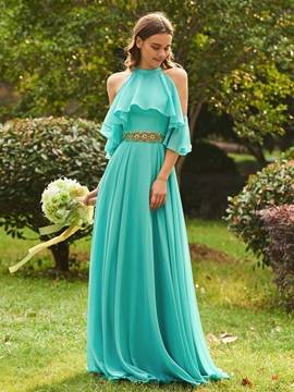 Halter A Line Chiffon Bridesmaid Dress