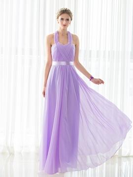 Halter A Line Chiffon Long Bridesmaid Dress