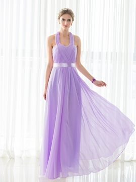 Halter A Line Chiffon Long Bridesmaid Dress