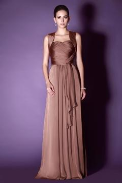 Halter A Line Long Bridesmaid Dress