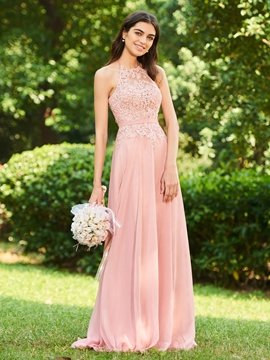 Halter Backless A Line Long Bridesmaid Dress