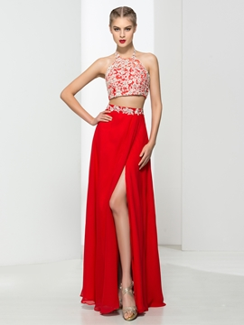 Halter Two Pieces Appliques Sequins Prom Dress