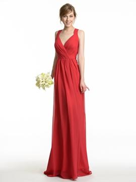 High Quality Straps Long Bridesmaid Dress