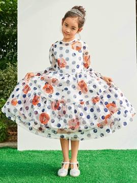 Jewel A Line Long Sleeves Tea Length Print Flower Girl Party Dress