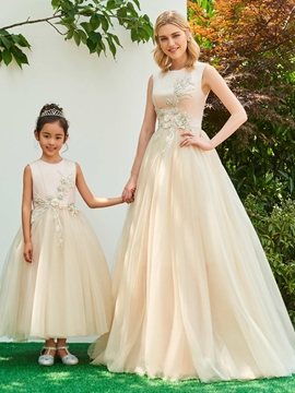 Jewel Ball Gown Appliques Ankle-Length Flower Girl Party Dress