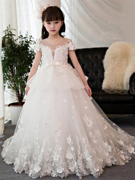 Jewel Ball Gown Short Sleeves Appliques Flower Girl Dress
