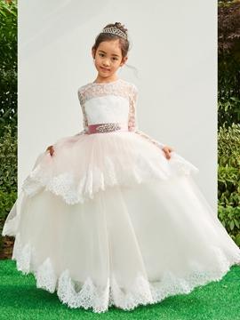 Jewel Long Sleeves Appliques Tulle Flower Girl Dress