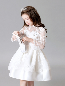 Lace Ball Gown Knee Length Flower Girl Dress
