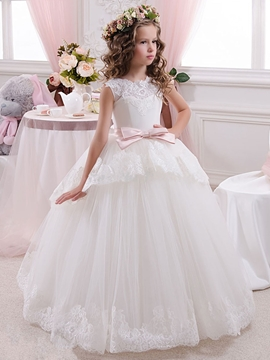 Lace Tulle Floor Length Ball Gown Flower Girl Dress