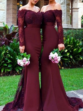 Long Sleeves Mermaid Off The Shoulder Appliques Bridesmaid Dress