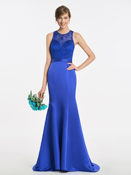 Mermaid Lace Long Matte Satin Bridesmaid Dress