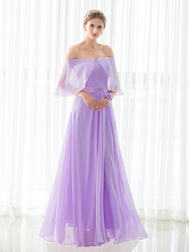 Off The Shoulder A Line Chiffon Long Bridesmaid Dress