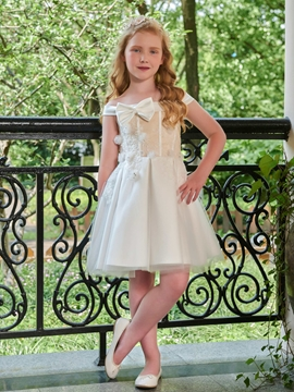Off The Shoulder A Line Knee Length Flower Girl Dress