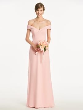 Off The Shoulder A LineCriss Cross Straps Long Bridesmaid Dress