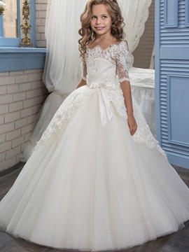 Off The Shoulder Half Sleeves Ball Gown Flower Girl Dress