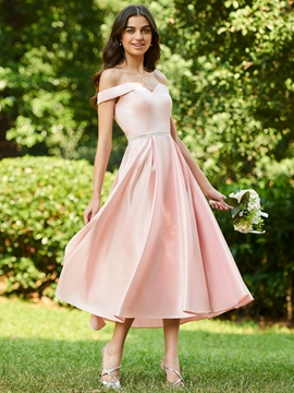 Off the Shoulder A Line Tea Length Bridesmaid Dress