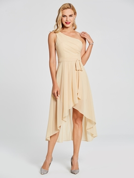 One Shoulder A Line High Low Chiffon Bridesmaid Dress
