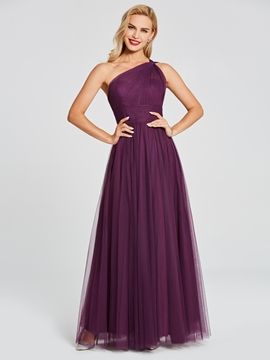 One Shoulder A Line Tulle Long Bridesmaid Dress