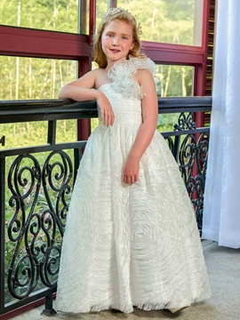 One Shoulder Ball Gown Lace Flower Girl Dress
