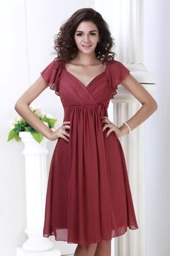 Perfect V-Neck Knee-Length Bridesmaid Dress