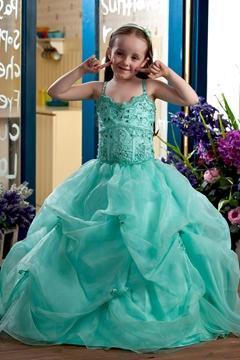 Pretty Ball Gown Floor-length Sweetheart Beaded Flower Girl Dress with Pick-ups