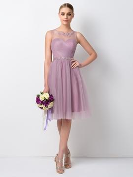 Pretty Jewel Beading Knee Length Bridesmaid Dress