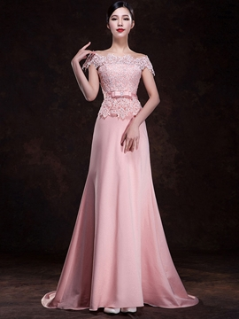 Pretty Off the Shoulder Sweep Train Lace Bridesmaid Dress