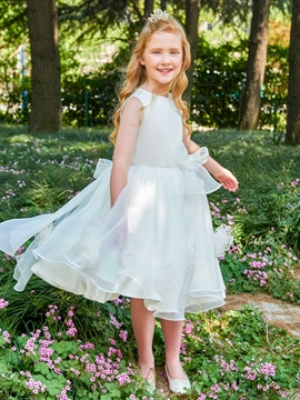 Scoop A Line Bowknot Knee Length Flower Girl Dress