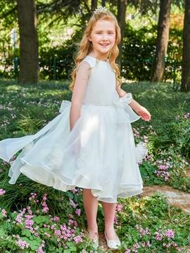 Scoop A Line Bowknot Knee Length Flower Girl Dress