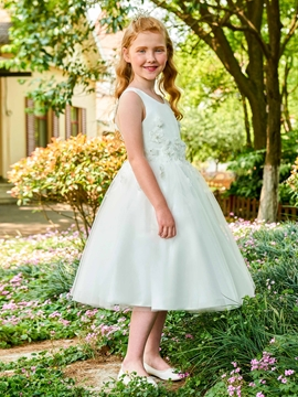 Scoop Appliques Ball Gown Tea Length Flower Girl Dress