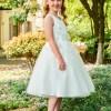 Scoop Appliques Ball Gown Tea Length Flower Girl Dress