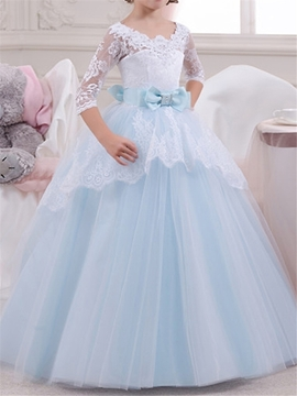 Scoop Half Sleeves Ball Gown Flower Girl Dress