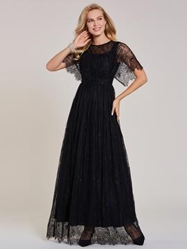 92443ba0551f1 Scoop Neck Zipper-Up Lace A Line Evening Dress - Cute Dresses