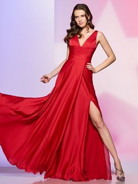 Sexy Deep Neck A Line Side Slit Long Prom Dress