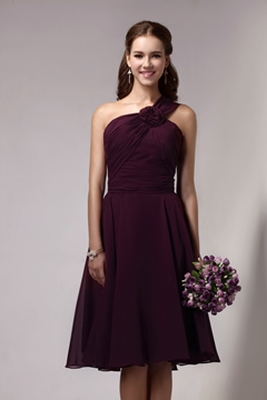 Sexy Empire Waist One-Shoulder Floor-Length Sandra's Bridesmaid Dress
