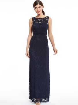 Sheath Beaded Lace Evening Dress With Zipper-Up Back