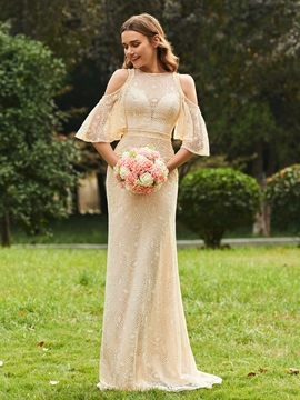 Sheath Lace Cold Shoulder Long Bridesmaid Dress