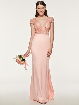 Sheath Long Lace Bridesmaid Dress